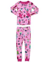"""Hatley Pyjama """"Bird Houses"""" in Rosa/ Bunt"""