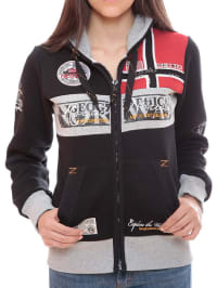 "Geographical Norway Sweatjacke ""Flyer"" in Schwarz/ Grau/ Rot"