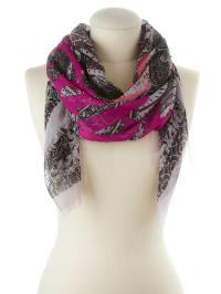 Codello Viskose-Tuch in Weiß/ Schwarz/ Pink - (B)110 x (L)110 cm