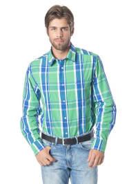 H.I.S Breit kariertes Oberhemd in grün/ blau/ weiß