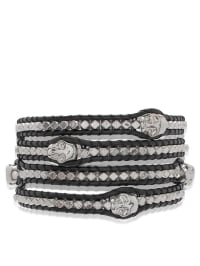 Lucie & Jade Leder-Armband in Schwarz/ Silber